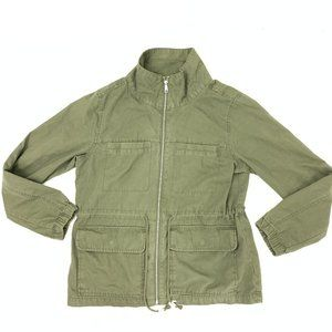 Drawstring Cinch High Neck Full Zip Army Jacket L